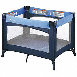 Play Yard Crib, Blue, 3/4 In. Mattress