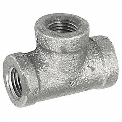 Tee, 1/2 In, NPT, Galvanized Malleable Iron