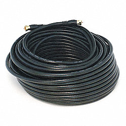 Coax Cable, RG-6, F-Type Conn, Blk, 100 ft.