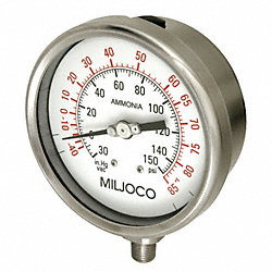 Ammonia Gauge, Filled, 2.5 In Vac to150psi
