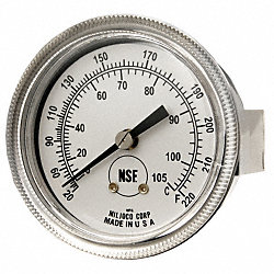 Analog Panel Mt Thermometer, 20 to 220F