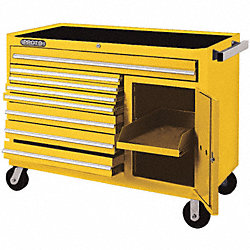 Rolling Workstation, 50 In, 8 Dr, Yellow