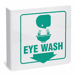 Eye Wash Sign, 8 x 8In, GRN/WHT, Eye Wash