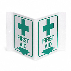 First Aid Sign, 6 x 9In, GRN/WHT, First Aid