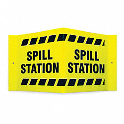 Notice Sign, 8 x 15In, BK/YEL, Spill STA