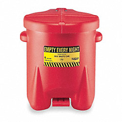 Oily Waste Can, 14 Gal., Poly, Red
