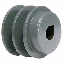 V-Belt Pulley, 3.55 In OD, 3/4 Bore, 2GRV