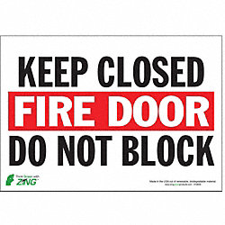 Fire Door Sign, 7 x 10In, R and BK/WHT, ENG