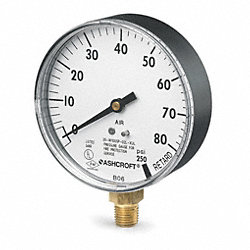 Pressure Gauge, Sprinkler, 3 1/2 In, 80 Psi