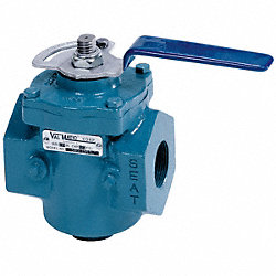 Plug Valve, 1/2 In, Lever Operated, CI