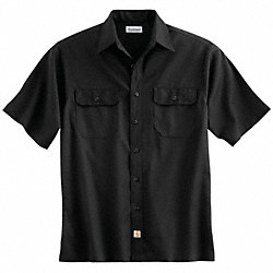 Short Sleeve Shirt, Black, Poly/Cott, XL