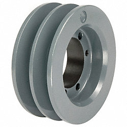 V-Belt Pulley, QD, 5.95 In OD, 2 Groove