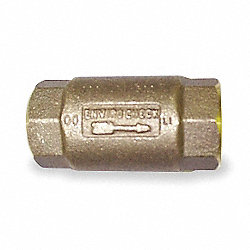 Spring Check Valve, 1-1/2 In, FNPT, Brass