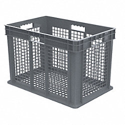 Container, Mesh Side/Base, 3.49 cu ft, Gry
