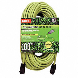 Ext Cord, 12AWG, 15A, SJOW, 100Ft, Green