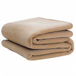 Blanket, Twin, 66x90 In., Tan, PK4
