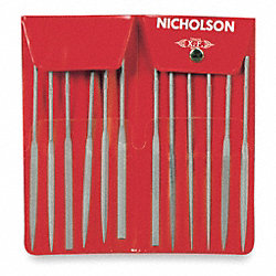 Needle File Set, 5 1/2 In, #2, 12 Pc