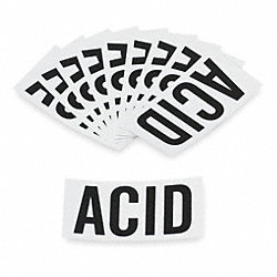 NFPA Label, Black/White, Acid, PK 10