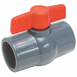 Ball Valve, 1 Pc, 3/4 In, PVC, Socket