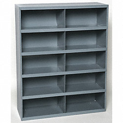 Bin Storage Unit, 10 Bins, Gray, Steel