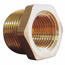 Pipe Bushing, Brass, 1/2 x 1/4 In, PK10