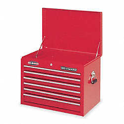 Tool Chest, 6 Drawer, Red, Ball Bearing