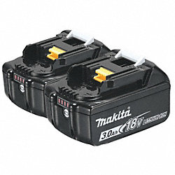 Battery Pack, 18V, Li-Ion, 3A/hr., PK 2