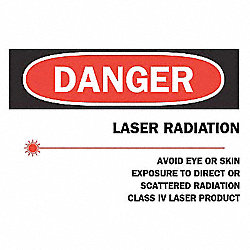 Danger Laser Sign, 7 x 10In, R and BK/WHT