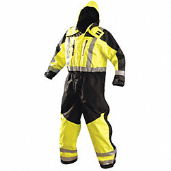 1 Piece Coverall Rainsuit, Black/Ylw, 2XL
