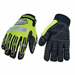 Mechanics Gloves, Lime Green, 2XL, PR