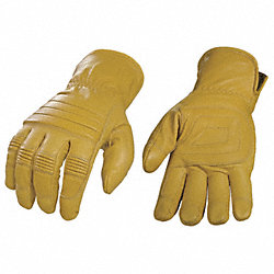 Leather Gloves, L, Tan, PR