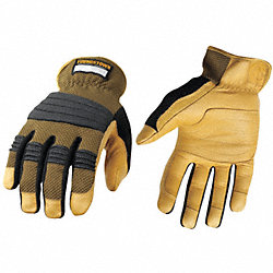 Mechanics Gloves, Tan/Green, L, PR