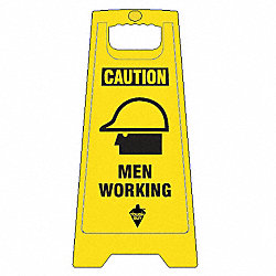 Floor Sign, Yellow, 24 In., 2 Sided