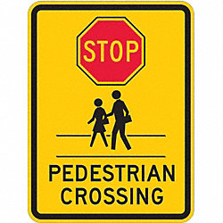 Traffic Sign, 24 x 18In, R and BK/YEL