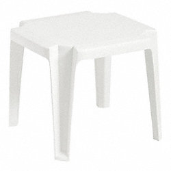 Side Table, Low, 17 In Square, White