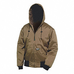Hooded Jacket, 2XL, Brown, Zipper