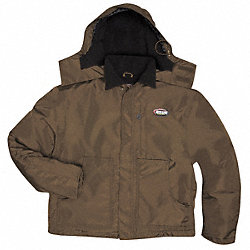 Hooded Parka, 3XL, Brown, Zipper