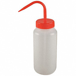 Wash Bottle, LDPE, Red, 16 oz.