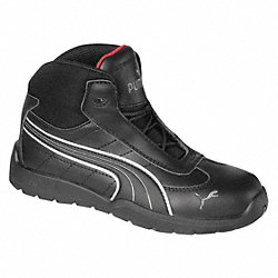 Athletic Work Boots, Stl, Mn, 12, Blk, 1PR