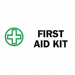 First Aid Sign, 3-1/2 x 10In, ENG, SURF
