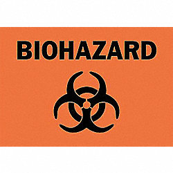 Biohazard Sign, 7 x 10In, BK/ORN, SYM, SURF