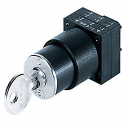 Sel Sw, NonIll, 2Pos, Right, 22mm, Blk, Key, PL