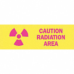 Caution Radiation Sign, 3-1/2 x 10In, ENG