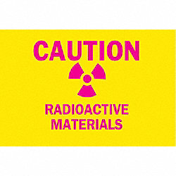 Caution Radiation Sign, 7 x 10In, Pink/YEL