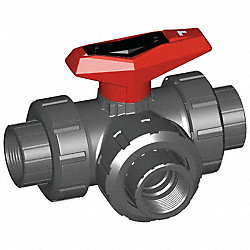 PVC Ball Valve, 3-Way, Union, FNPT, 1 In