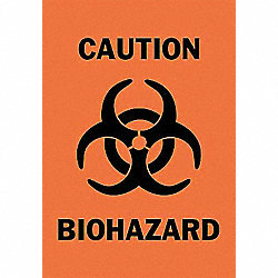 Caution Biohazard Sign, 14 x 10In, BK/ORN