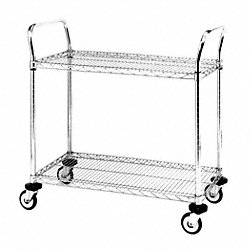 Utility Cart, SS, 2 Wire Shelves, 24Wx36L
