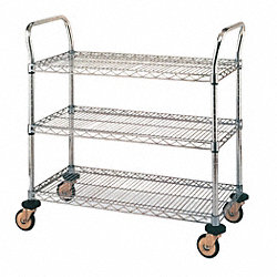 Utility Cart, SS, 3 Wire Shelves, 24Wx36L