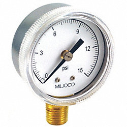 Pressure Gauge, 2 In, Lower, 0 to 15 psi