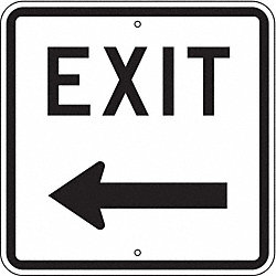 Exit Sign, 18 x 18In, BK/WHT, ENGR GR AL